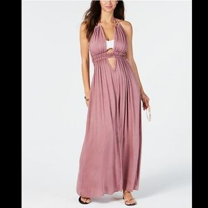 Raviya Boho Halter Tassel Pink Maxi Dress Cover Up